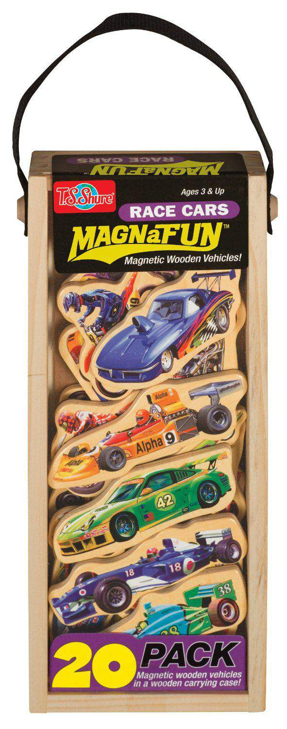 Magnetic Wooden Pretend Play Race Cars Magnawheels