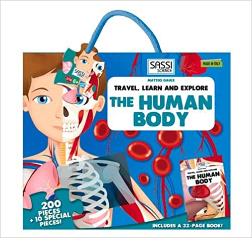 """Sassi """"The Human Body"""" 200 pieces Puzzle and Book (Travel, Learn, & Explore) - (BOX)"""