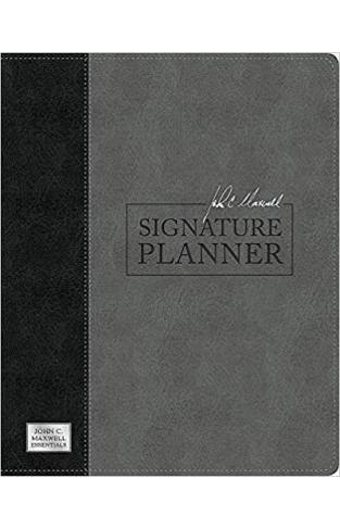 John C. Maxwell Signature Planner (Gray Black LeatherLuxe) - Leather Bound