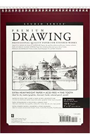 Large Premium Drawing Pad 9'' X 12'' (Sketchbook, Sketch book) (Studio) - Paperback