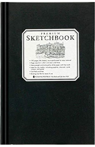 Premium Black Sketchbook - Small (14 cm x 20 cm, micro-perforated pages) - Hardcover