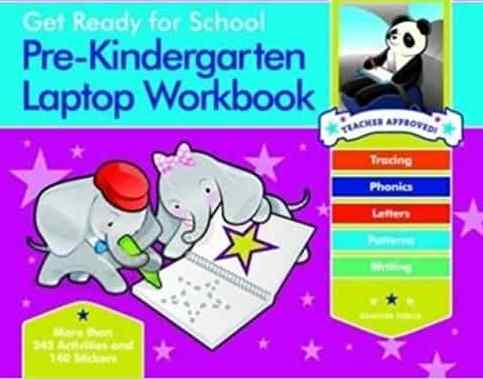 Get Ready for School Pre Kindergarten Laptop Workbook Uppercase Letters Tracing Beginning Sounds Writing Patterns Spiral bound -