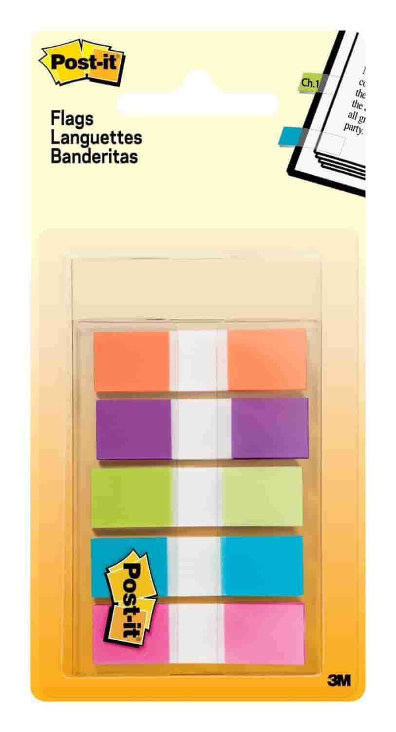 Post-it Flags 6835CB2 Page Flags in Portable Dispenser, 5 Bright Colors, 5 Dispensers, 20 Flags/Color