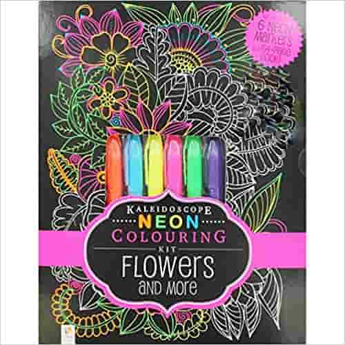 Neon Colouring Kit With 6 Highlighters Flowers Kaleidoscope