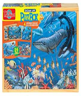 T.S. Shure Ocean Life 4 Large Puzzles in a Wooden Box