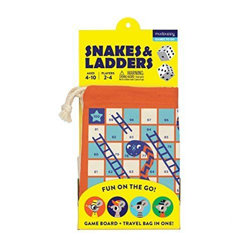 Mudpuppy Snakes and Ladders Travel Game